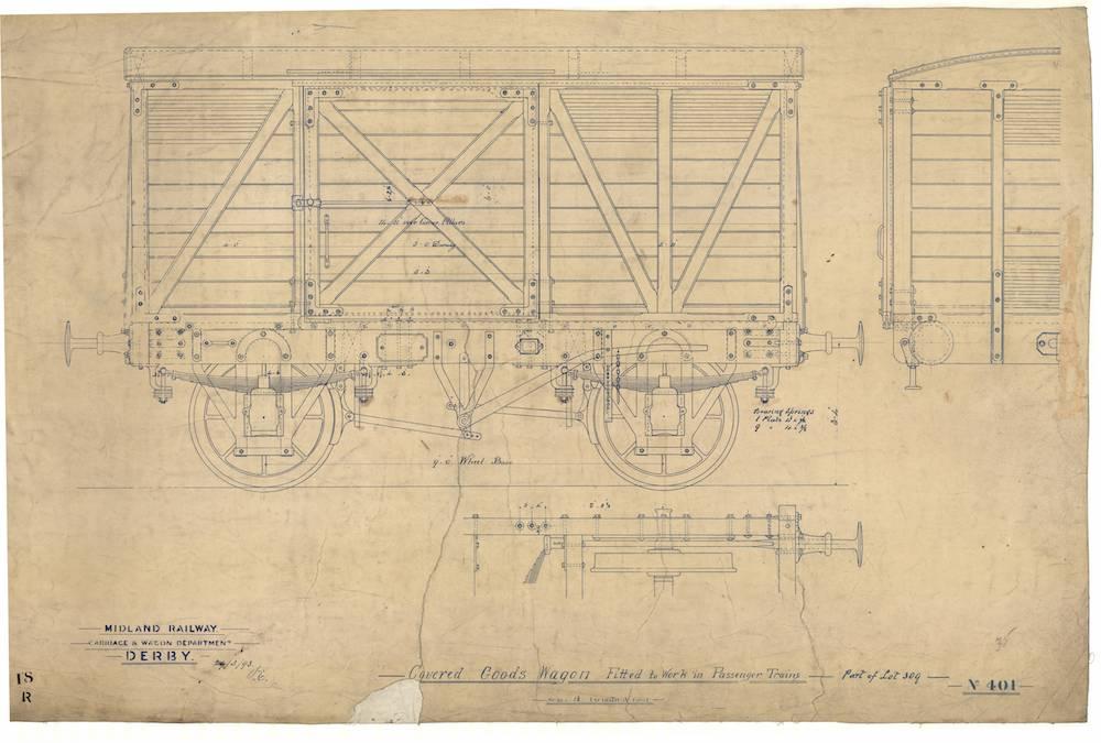 8 ton covered goods wagon (ventilated van) avb piped diagram no 376 drawing  no 401 dated 1893: