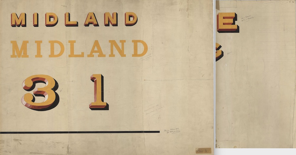 Two sheets of paper on which a signwriter has very ornately painted 'Midland' (twice) and the numerals for First and Third Class