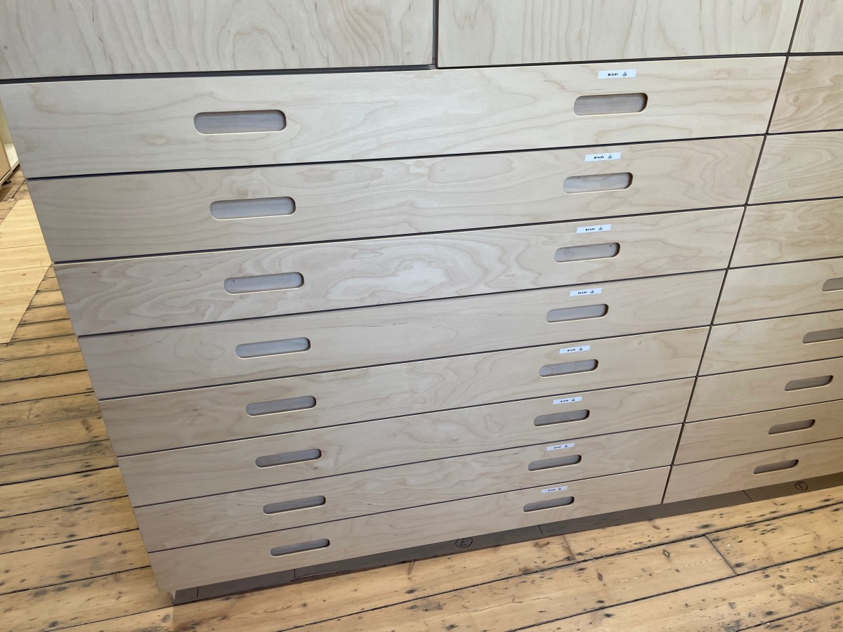 Newly constructed plan chest drawers labelled B14.01