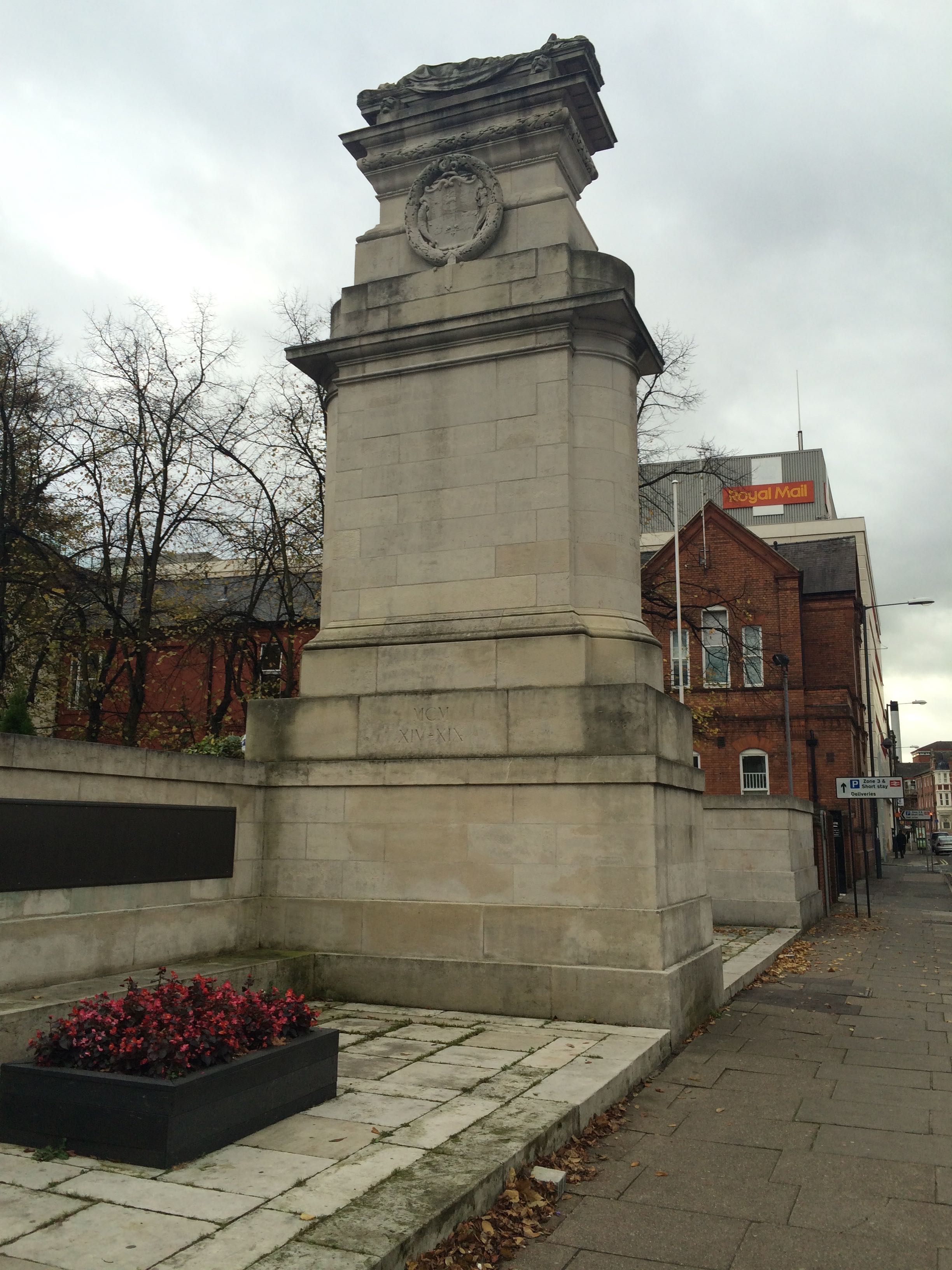 The Midland Railway War Memorial on Midland Road, Derby with poppy wreaths at its base