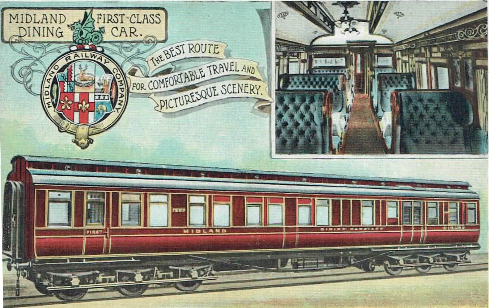 A postcard featuring a Midland Railway First Class dining car with both external and internal views.