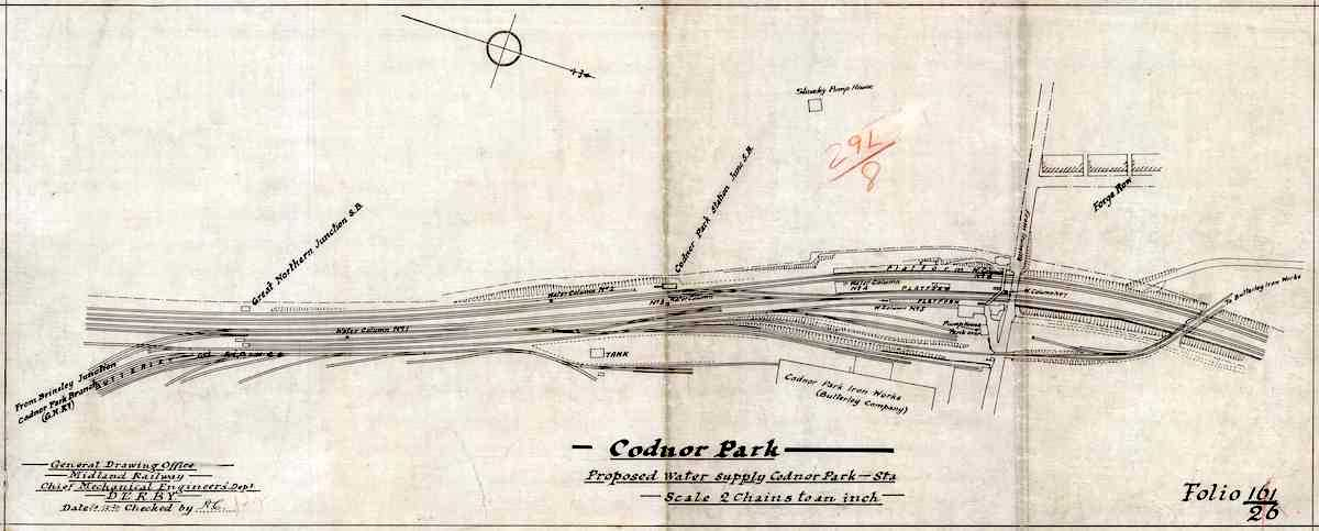 A drawing dated 30DEC1920 titled Proposed Water Supply for Codnor Park Station
